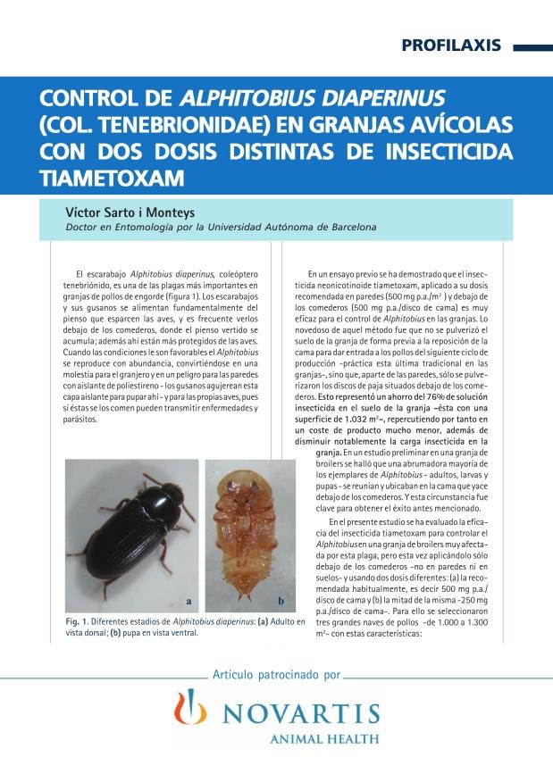 Control de Alphitobius diaperinus (Col. Tenebrionidae) en granjas avícolas co dos dosis distintas de insecticida tiametoxam