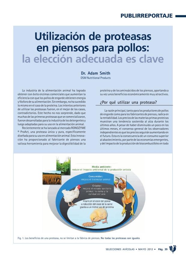 Utilización de proteasas en piensos para pollos: la elección adecuada es clave
