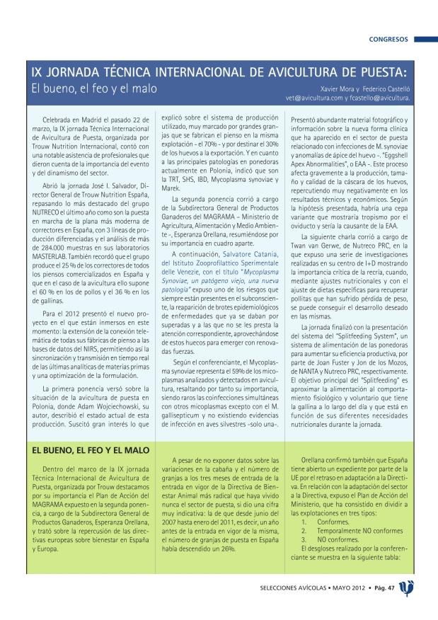 IX Jornada Técnica Internacional de Avicultura de Puesta: el bueno, el feo y el malo
