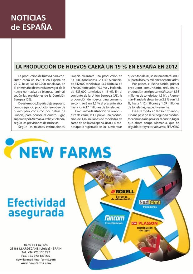 La producción de huevos caerá un 19% en España en 2012