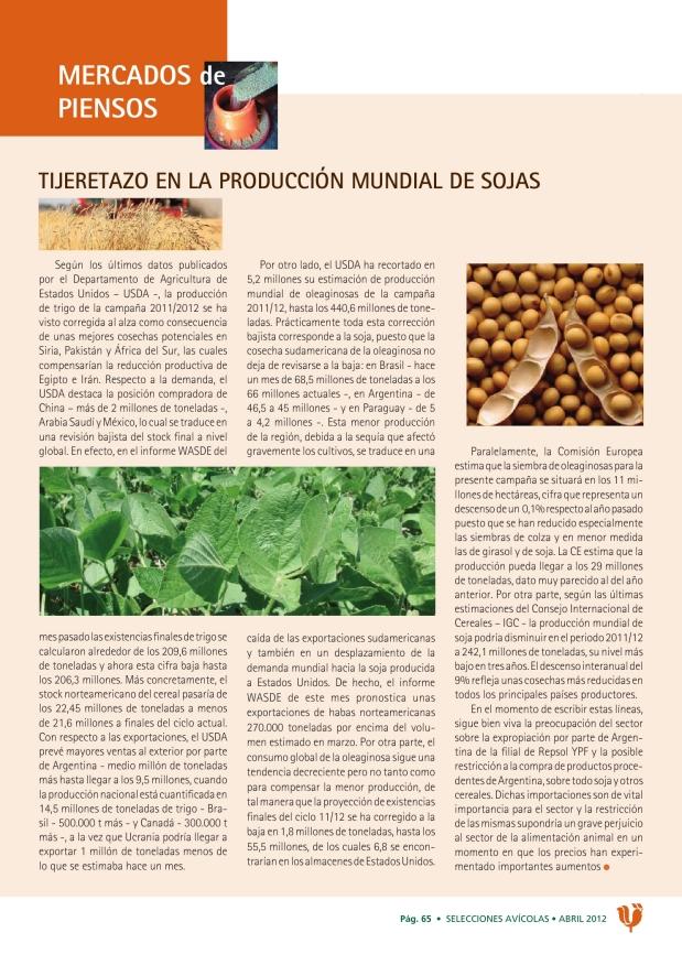 Tijeretazo en la producción mundial de sojas