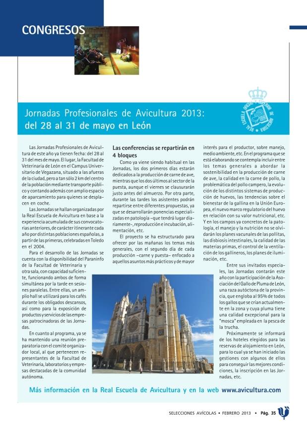 Jornadas Profesionales de Avicultura 2013: del 28 al 31 de mayo en León