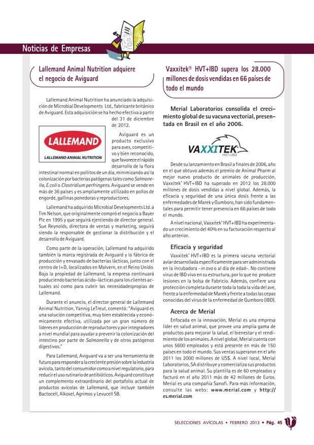 Lallemand Animal Nutrition adquiere el negocio de Aviguard
