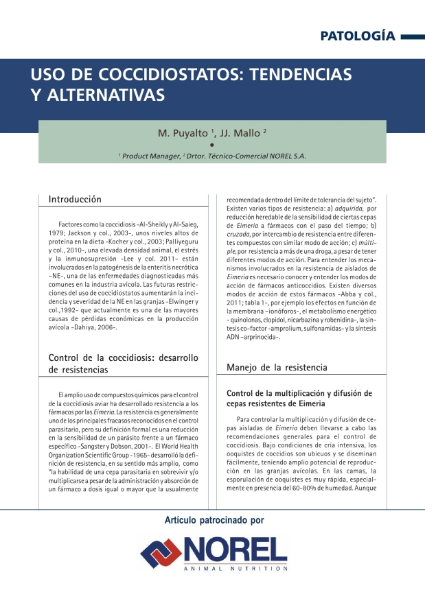 Uso de coccidiostatos: tendencias y alternativas