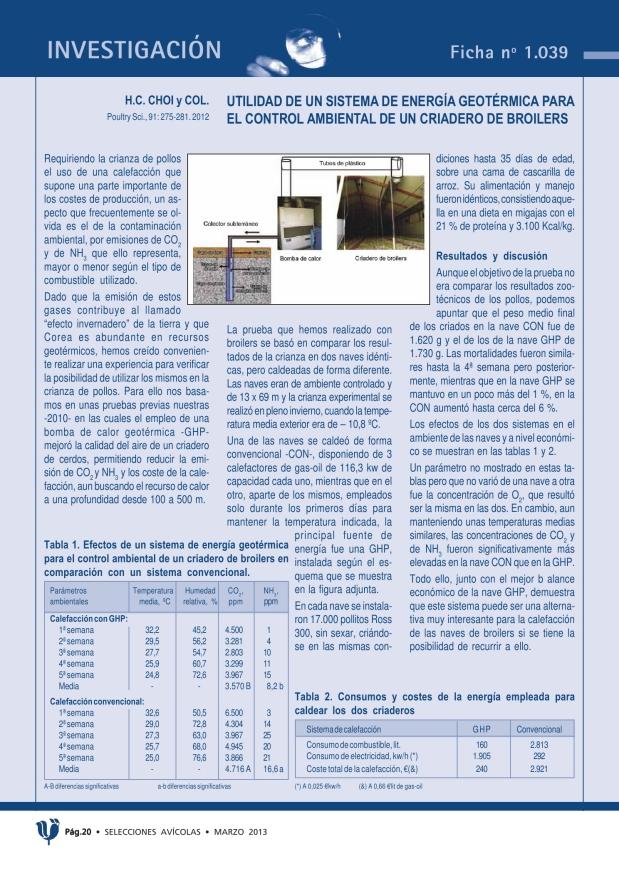 Utilidad de un sistema de energía geotérmica para el control ambiental de un criadero de broilers