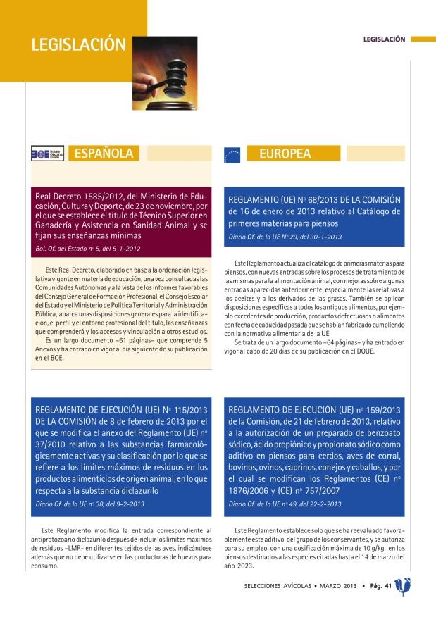 REGLAMENTO (UE) Nº 68/2013 de la Comisión