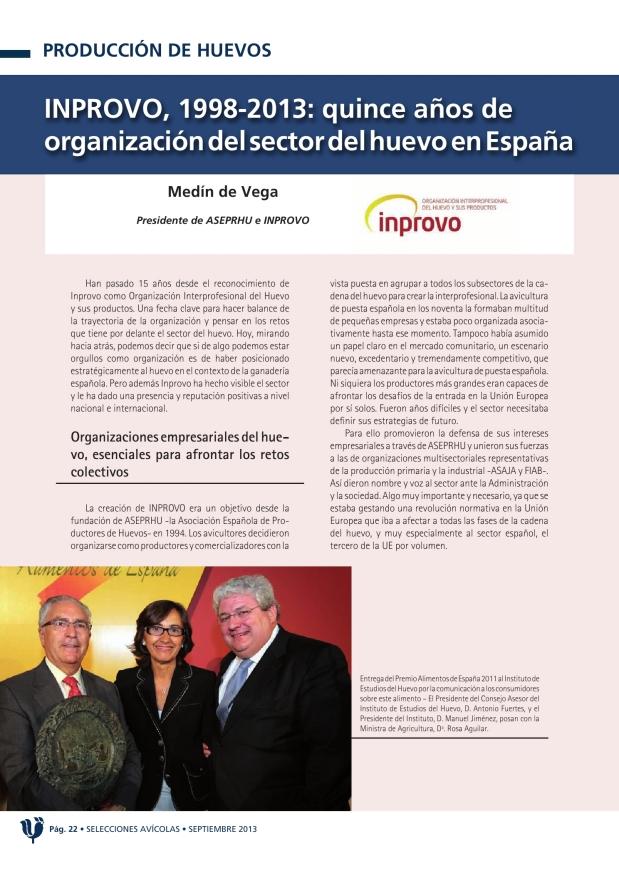 INPROVO, 1998-2013: quince años de organización del sector del huevo en España