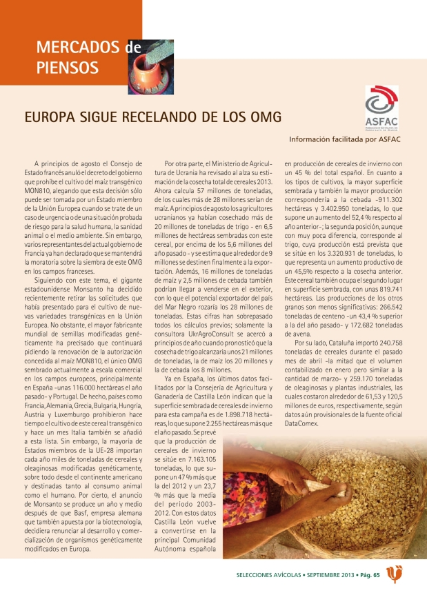 Europa sigue recelando de los OMG