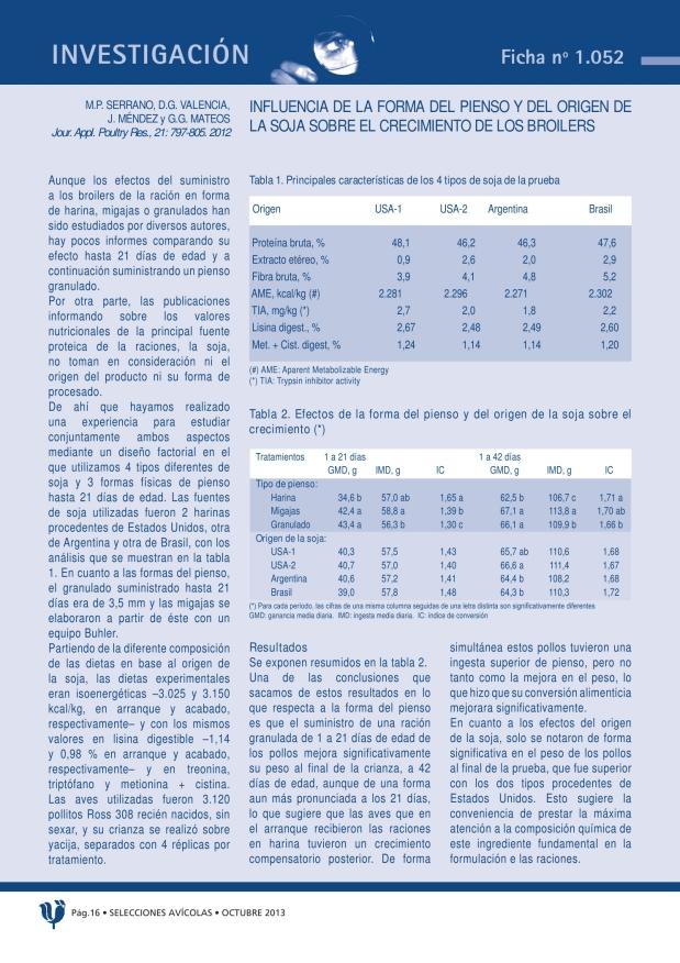 Influencia de la forma del pienso y del origen de la soja sobre el crecimiento de los broilers