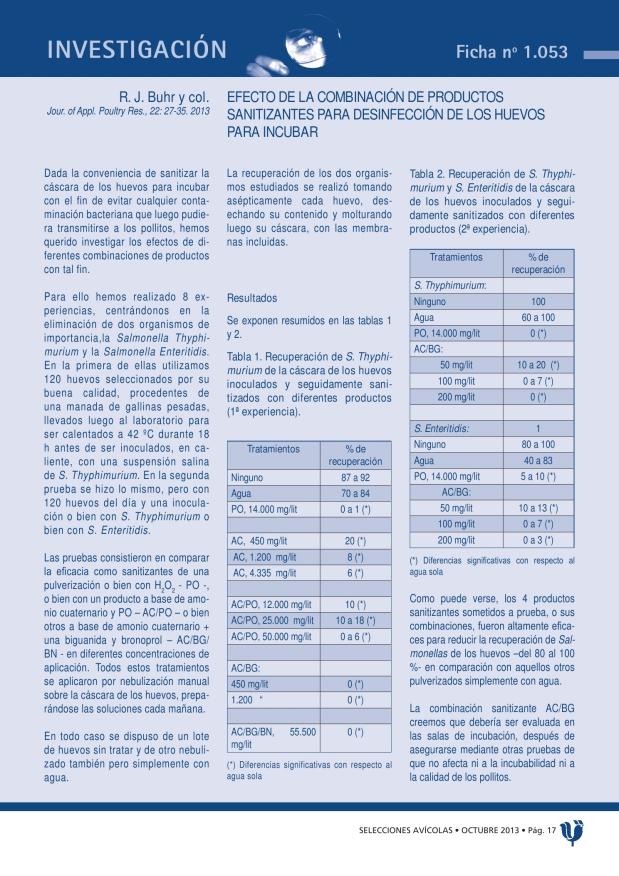 Efecto de la combinación de productos sanitizantes para desinfección de los huevos para incubar