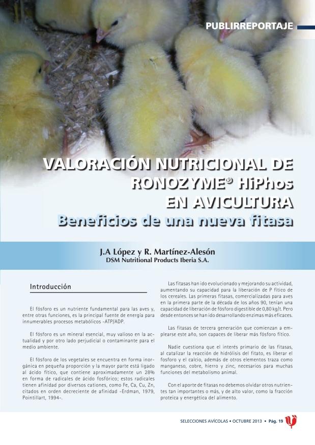 Valoración nutricional de Ronozyme (R) HiPhos en avicultura. Beneficios de una nueva fitasa