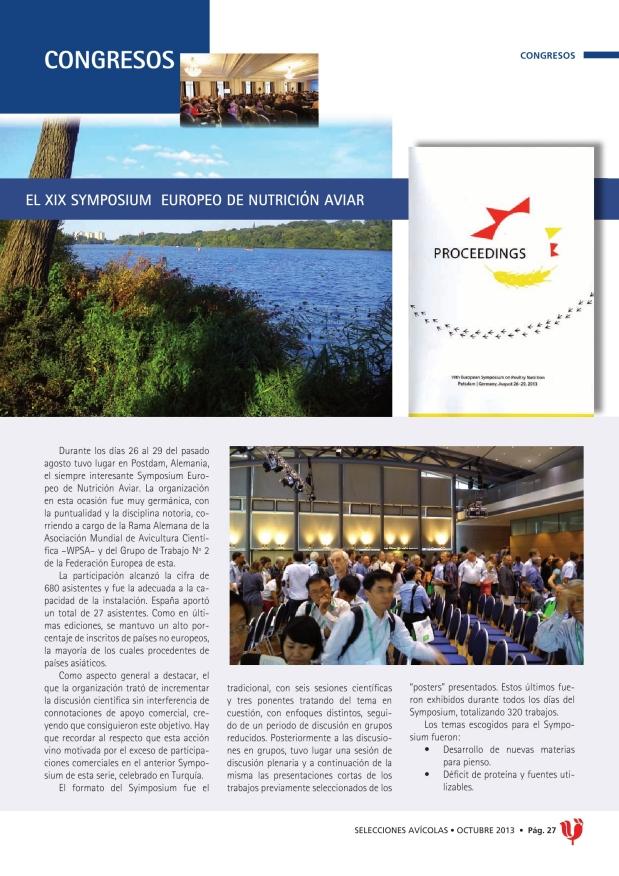 El XIX Symposium Europeo de Nutrición Aviar