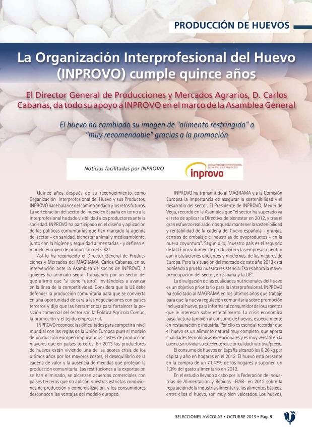 La Organización Interprofesional del Huevo (INPROVO) cumple quince años