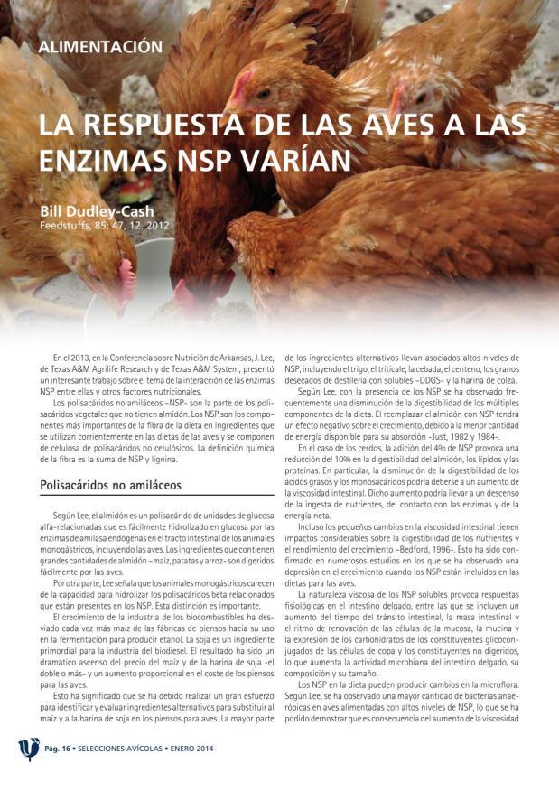 La respuesta de las aves a las enzimas NDP varían