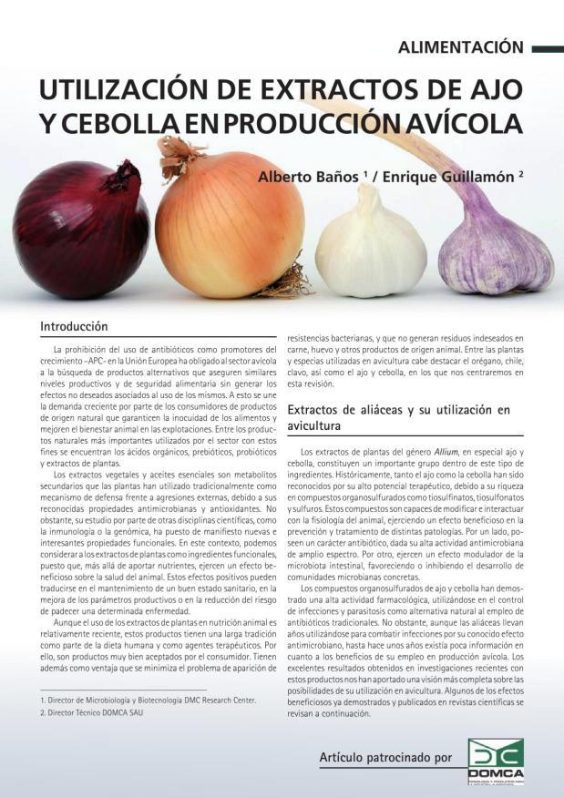 Utilización de extractos de ajo y cebolla en producción avícola