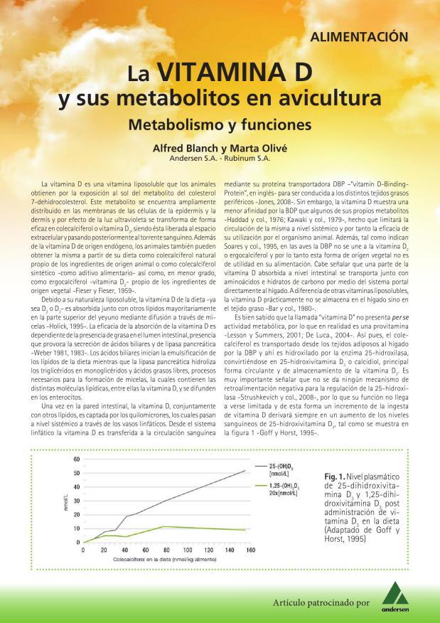 La Vitamina D y sus metabolitos en avicultura. Metabolismo y funciones