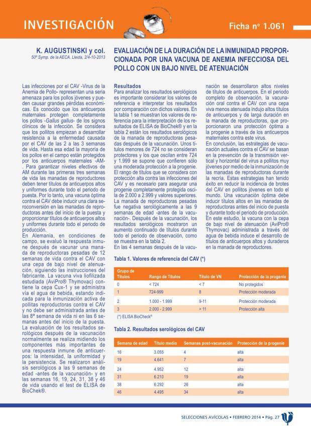 Evaluación de la duración de la inmunidad proporcionada por una vacuna de anemia infecciosa del pollo con un bajo nivel de atenuación