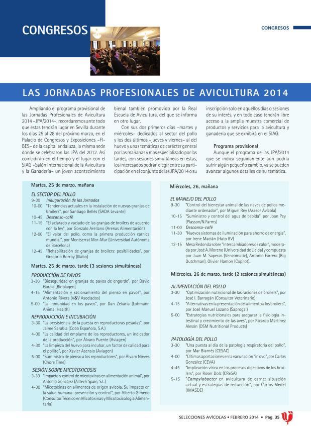 Las Jornadas Profesionales de Avicultura 2014