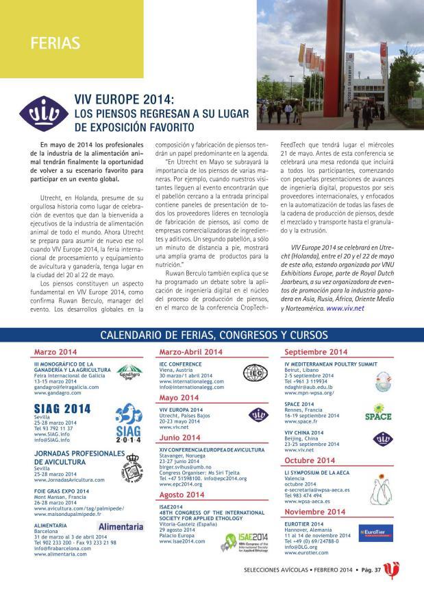 VIV Europe 2014: los piensos regresan a su lugar de exposición favorito