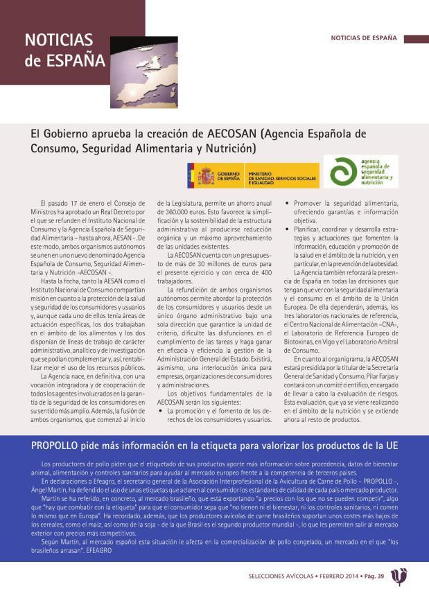 El Gobierno aprueba la creación de AECOSAN (Agencia Española de Consumo, Seguridad Alimentaria y Nutrición)