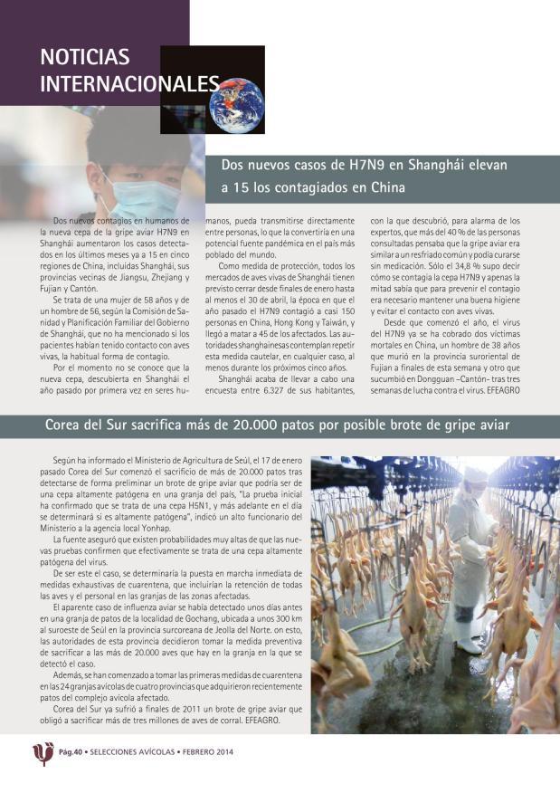 Dos nuevos casos de H7N9 en Shanghái elevan a 15 los contagiados en China