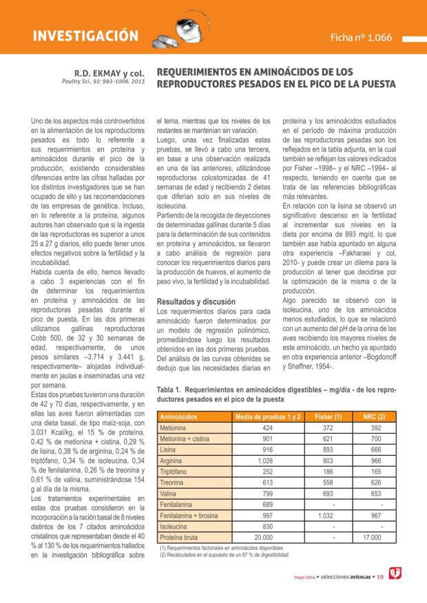 Requerimientos en aminoácidos de los reproductores pesados en el pico de la puesta