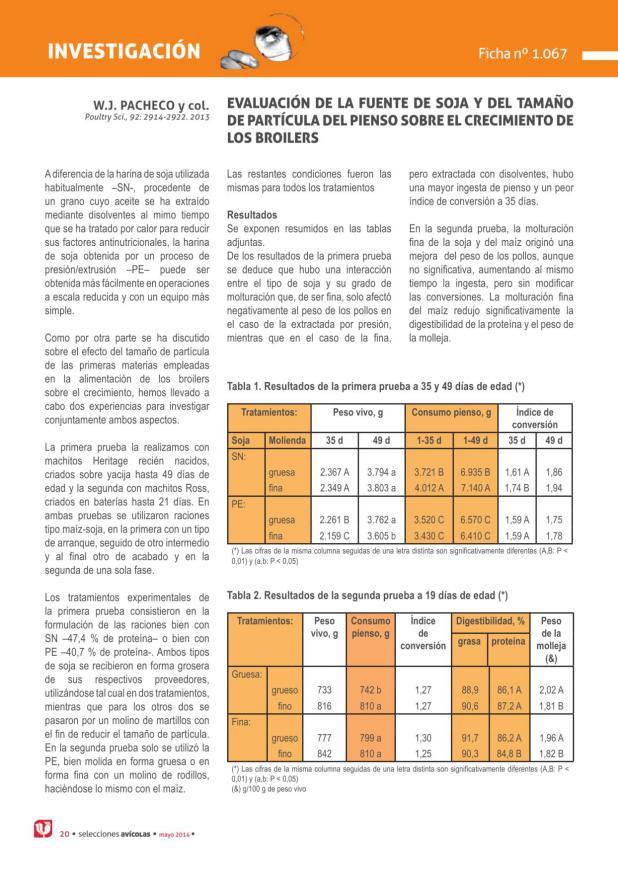 Evaluación de la fuente de soja y del tamaño de partícula del pienso sobre el crecimiento de los broilers