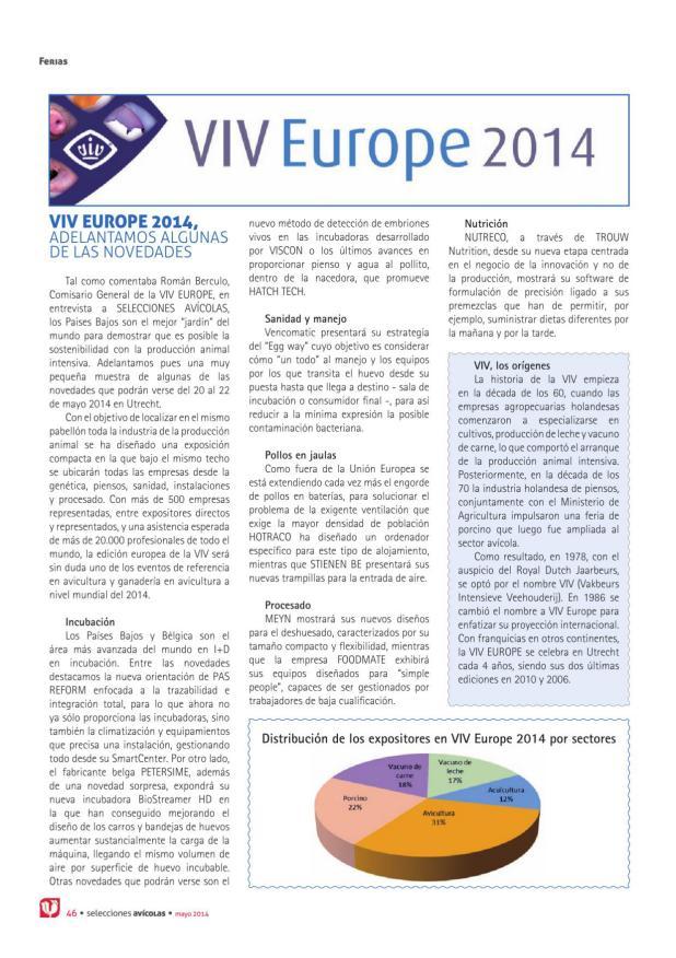 VIV Europe 2014, adelantamos algunas de las novedades