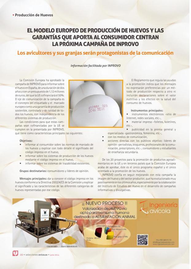 El modelo europeo de producción de huevos y las garantías que aporta al consumidor centran la próxima campaña de INPROVO