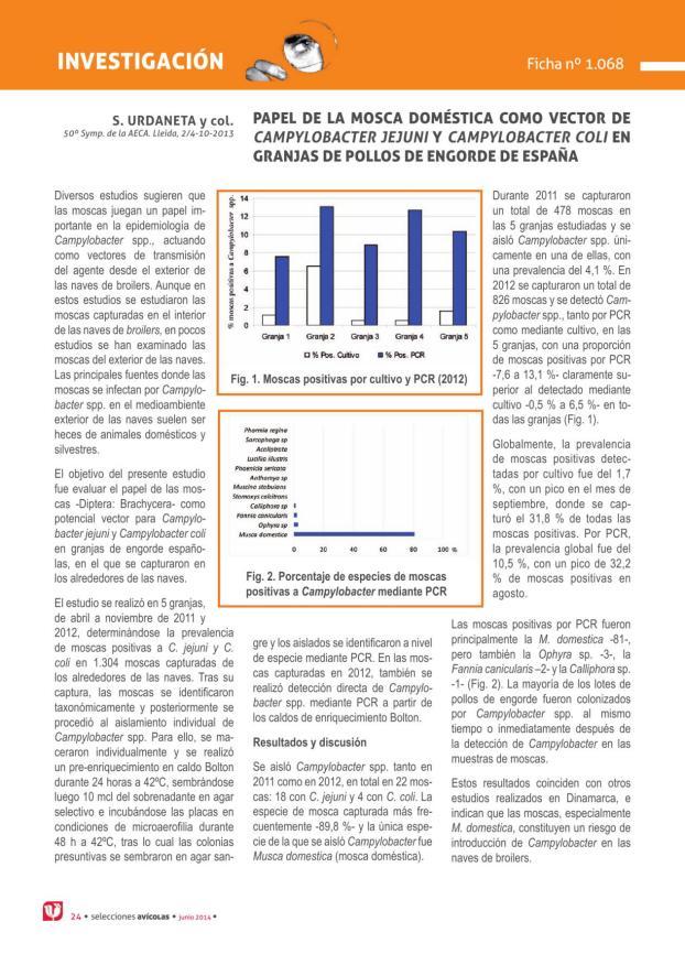 Papel de la mosca doméstica como vector de Campylobacter jejuni y Campylobacter coli en granjas de pollos de engorde de España