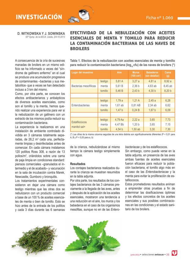 Efectividad de la nebulización con aceites esenciales de menta y tomillo para reducir la contaminación bacteriana de las naves de broilers
