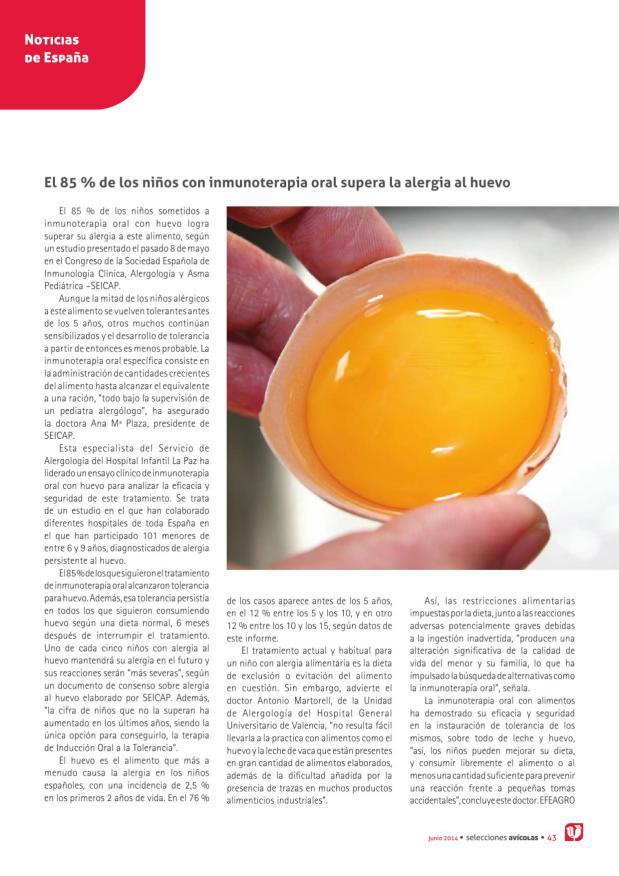 El 85 % de los niños con inmunoterapia oral supera la alergia al huevo