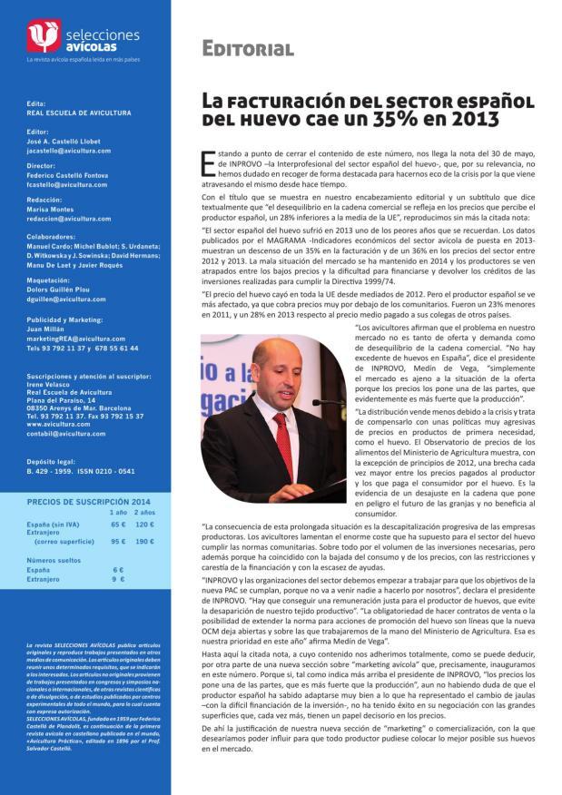 La facturación del sector español del huevo cae un 35 % en 2013