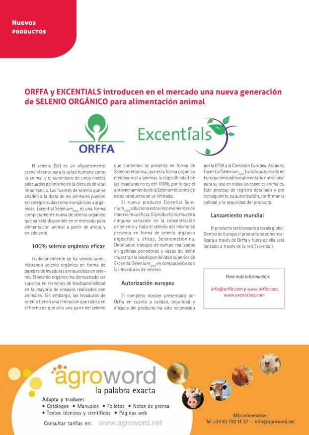 Orffa y Excentials introducen en el mercado una nueva generación de selenio orgánico para alimentación animal
