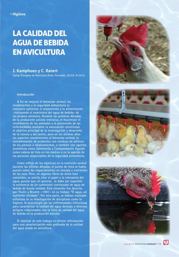 La calidad del agua de bebida en avicultura