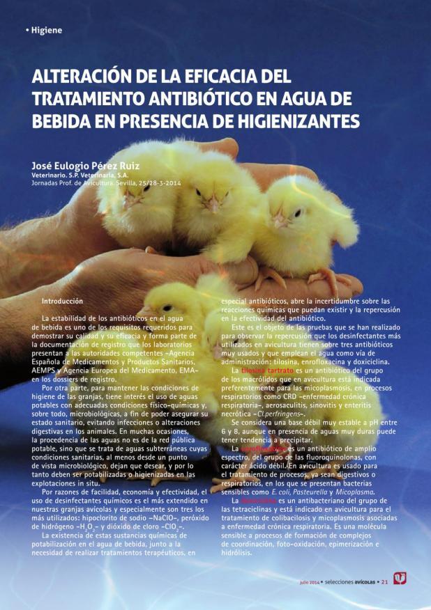 Alteración de la eficacia del tratamiento antibiótico en agua de bebida en presencia de higienizantes