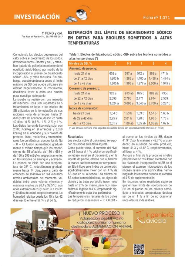 Estimación del límite de bicarbonato sódico en dietas para broilers sometidos a altas temperaturas