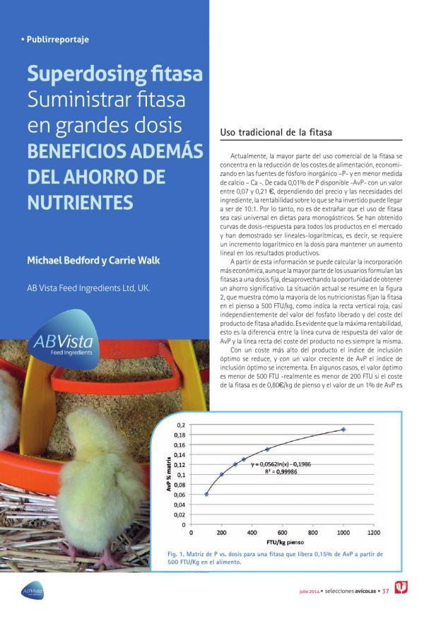 Superdosing fitasa. Suministrar fitasa en grandes dosis. Beneficios además de ahorro de nutrientes