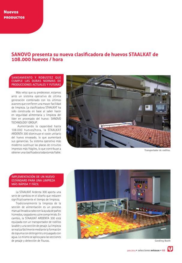 SANOVO presenta su nueva clasificadora de huevos STAALKAT de 108.000 huevos / hora