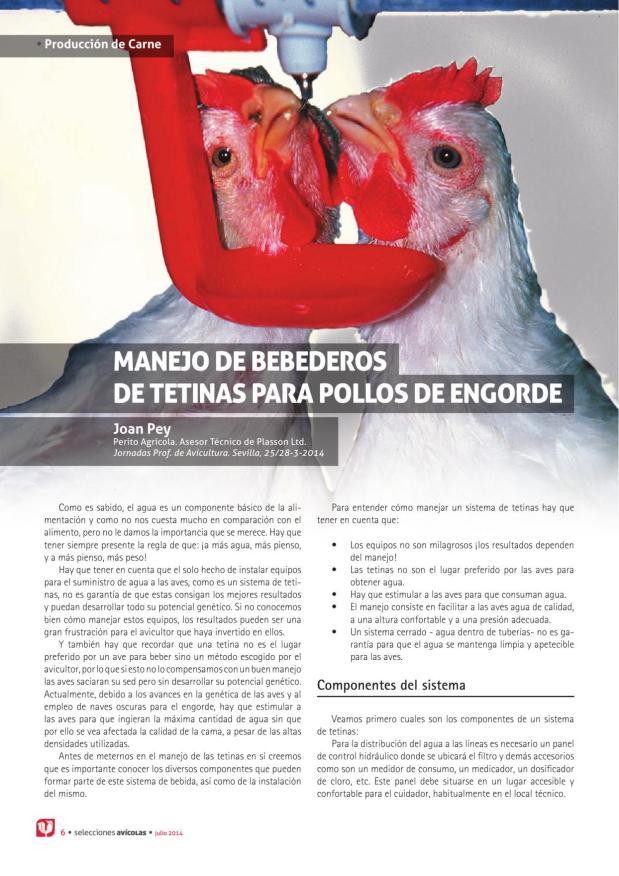 Manejo de bebederos de tetinas para pollos de engorde