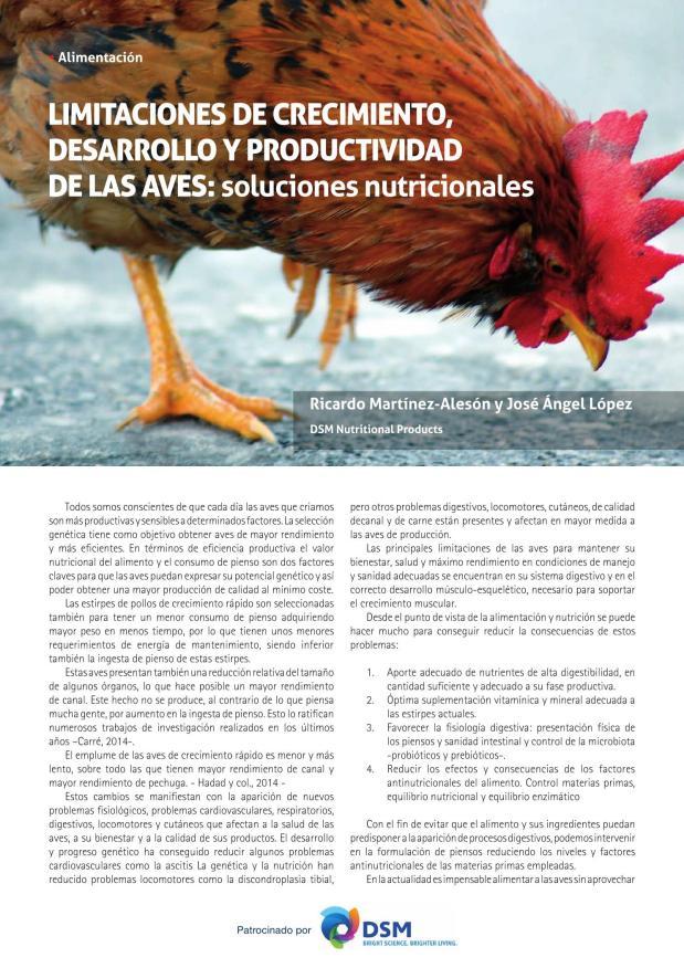 Limitaciones de crecimiento, desarrollo y productividad de las aves: soluciones nutricionales