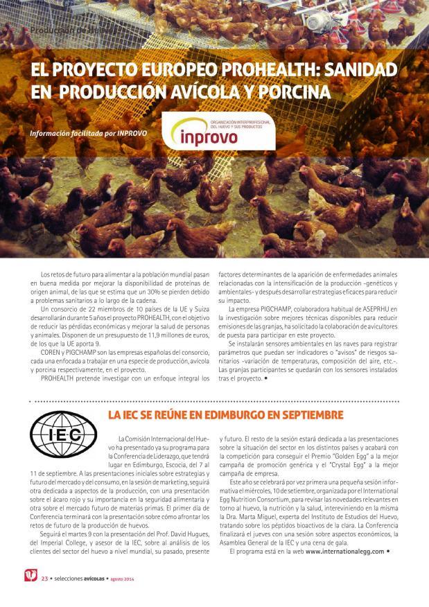El proyecto europeo Prohealth: sanidad en producción avícola y porcina
