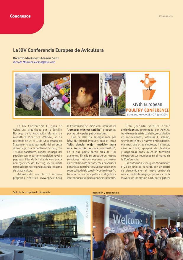 La XIV Conferencia Europea de Avicultura