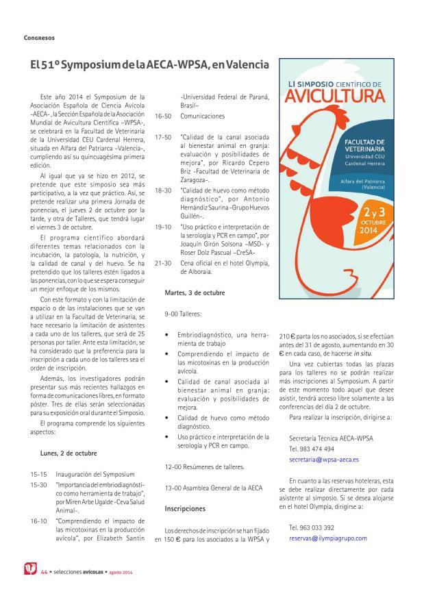 El 51º Symposium de AECA - WPSA, en Valencia