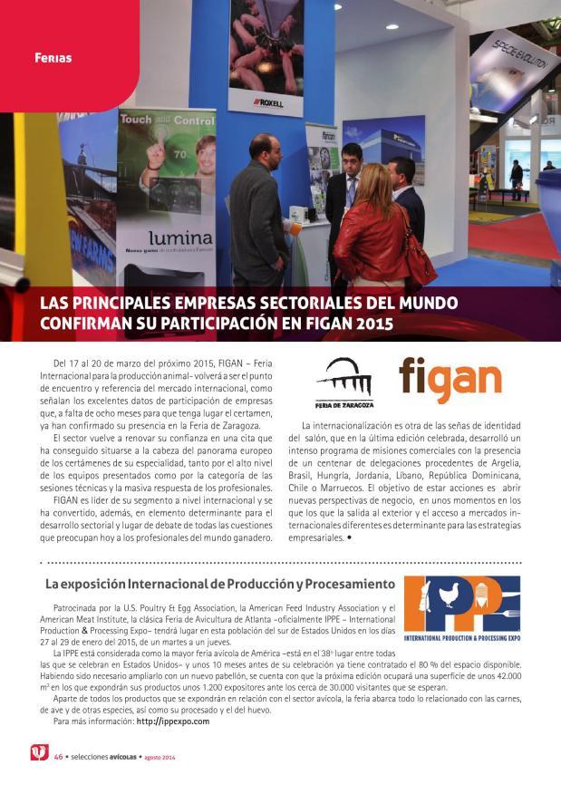 Las principales empresas sectoriales del mundo confirman su participación en FIGAN 2015