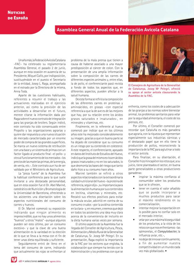 Asamblea General Anual de la Federación Avícola Catalana