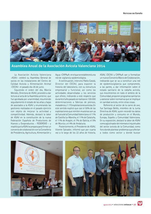 Asamblea Anual de la Asociación Avícola Valenciana 2014