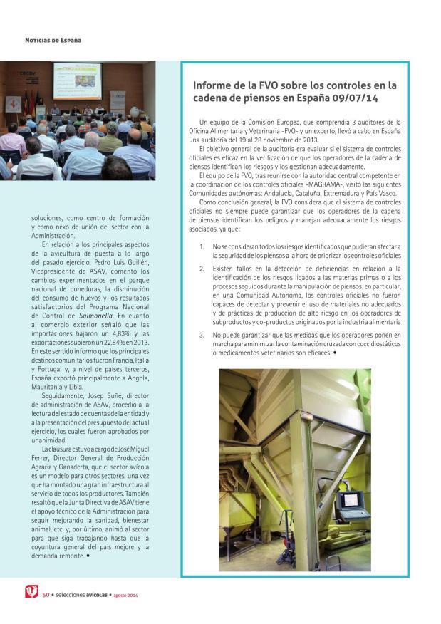 Informe de la FVO sobre los controles en la cadena de piensos en España 09/07/14
