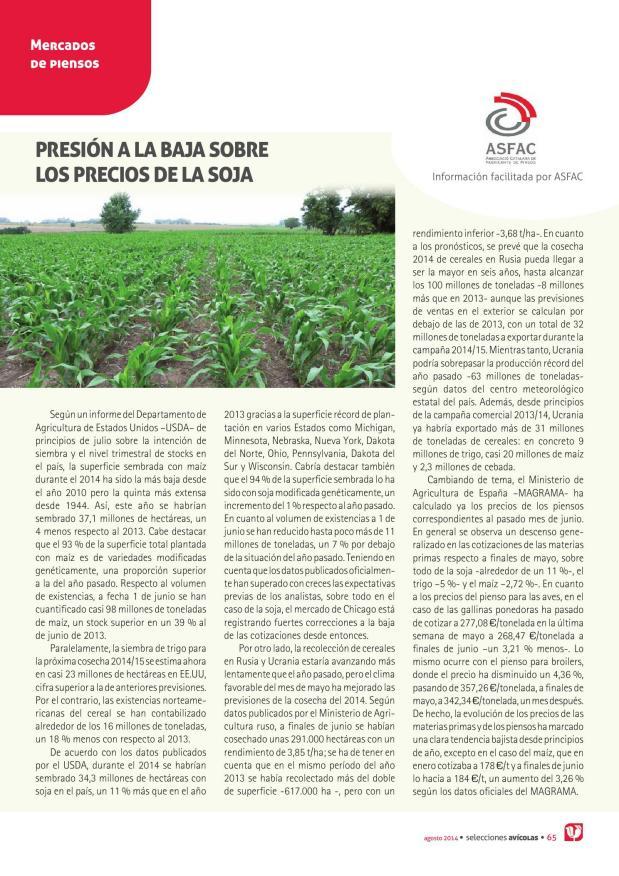 Presión a la baja sobre los precios de la soja
