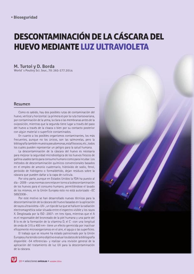 Descontaminación de la cáscara del huevo mediante luz ultravioleta